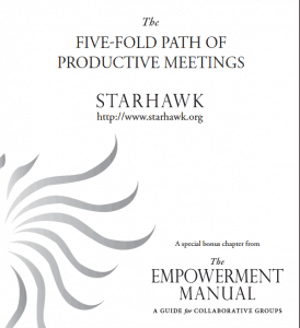 Cover of Starhawk's 'The Five-Fold Path of Productive Meetings'