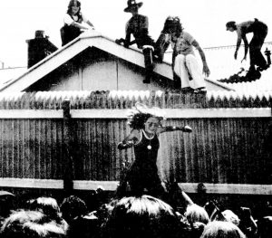 Women protesting. Some people sitting on a roof of a house. One woman jumping off fence into crowd