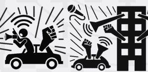 Black and white cartoon drawing depicting actions during social distancing. A person leans out of a car talking through a loud hailer, fists poke out of an apartment building, there are sound lines depicting music.