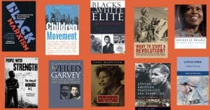 A collection of book covers for Black History Month including Michelle Obama and Toni Morrison