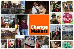 A collage of photographs taken with people featured on the ChangeMakers podcast.