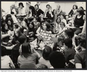 A large group of women sit in a room talking animatedly.