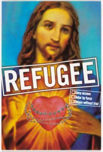 An image of Jesus Christ with 'Refugee' text across the image.