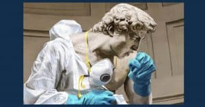 Statue David with gloves, mask and hazmat suit on coughing