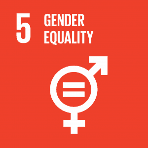 A red box with '5 Gender Equality' and male and female symbols.