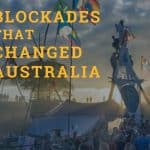 Protesters blockading at Bentley in NSW against the coal and gas industry in 2014. A landscape view of the blockade with the sun on the horizon creating a beautiful light over the site with many people and colourful flags. Protestors have climbed tripods. There is a person dressed as an angel at the top of one. Text over the top of the image says Blockades that changed australia