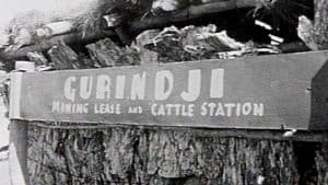Black and white photograph of a sign that reads: 'GURINDJI Mining Lease and Cattle Station'.