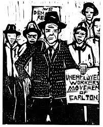 Woodcut print showing people standing together with a placard reading 'Unemployed Workers Movement of Carlton'.