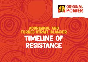 Cover slide of the Aboriginal and Torres Strait Islander Timeline of Resistance