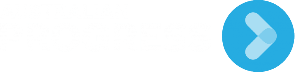 australian progress logo with blue arrow in blue circle