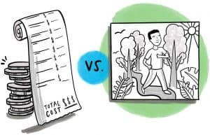 Drawing of a pile of coins and a receipt VS a happy person strolling on a path through trees.