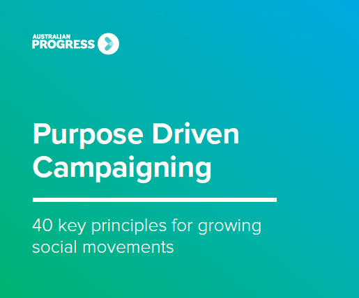 Front cover of the Purpose Driven Campaigning summary.