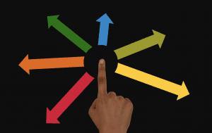 hand pointing with arrows heading off in different directions (symbolic of distribution)