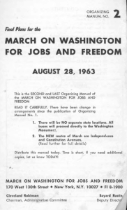 screenshot of the first page of Bayard Rustin's organising manual for the march on washington in 1963