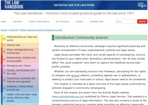 screenshot of website of The law handbook