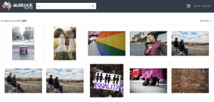 screenshot of austock photo library with images representing equality