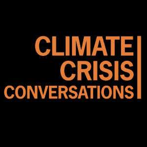 text only. it says climate crisis conversations