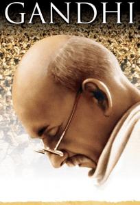portrait of Gandhi looking down