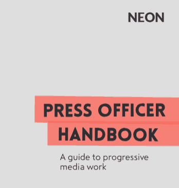 Front cover of the Press Officer Handbook (no images).