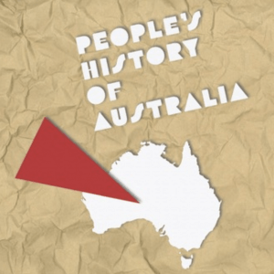paper cut of a red triangle pointing to a cut out of australia