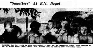 Family squatting at Naval Park Depot, Moore Park, Sydney.