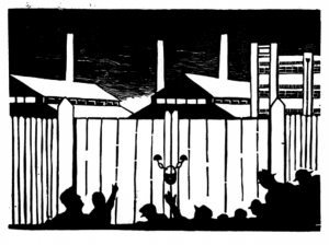 linocut of silhouette of workers outside shut factory gates