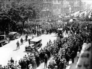 Thousands of unemployed men march to the Treasury Buildings to confront Premier Sir James Mitchell 6 March 1931.