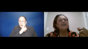 screenshot of online conference presenter,Noelene Nabulivou, presenting next to Auslan interpreter