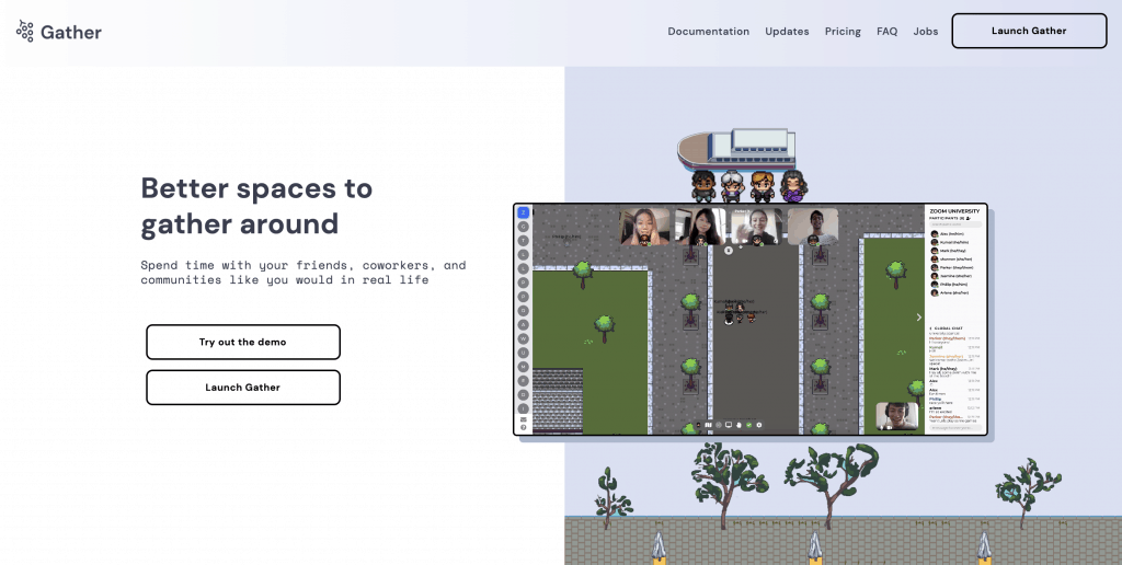 gather town website interface features pixelated aerial view of street and a row of people talking on video with their headphones on