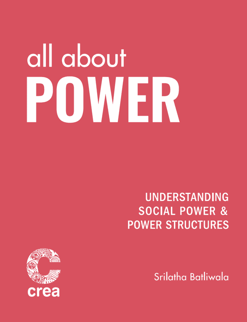 pink publication cover 'All About Powe: Understanding social power and power structures' , by Srilatha Batliwala.