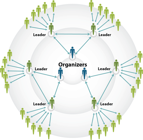 A diagram with three organisers at the centre. From each organiser arrows go to a Leader, from the Leader there are arrows to 5 team members.