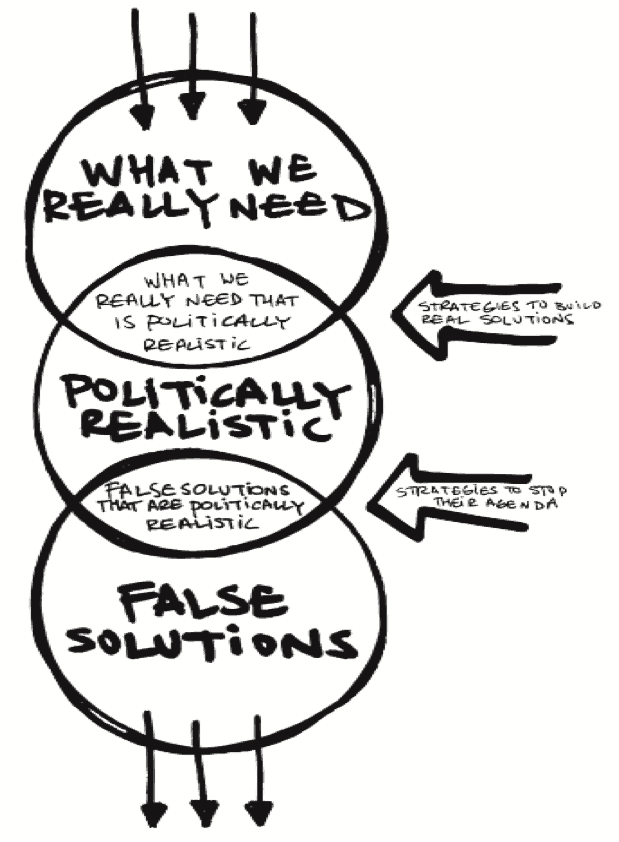 Diagram showing three overlapping circles. The top circle is 'What We Really Need', the middle circle is 'Politically Realistic' and the bottom circle is 'False Solutions'. The overlap between the first two circles is 'What we really need that is politically realistic. The overlap between the centre and bottom circles is 'False solutions that are politically realistic'. Two large arrows point from the right. The top arrow is 'Strategies to build real solutions', the bottom arrow is 'Strategies to stop their agenda'.