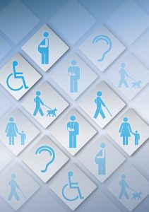 a wall of squares with different icons related to disability and access. e.g. person in wheelchair, pregnant woman, person with walking stick, person walking dog, ear