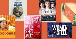 a collage of covers of films about women and social change