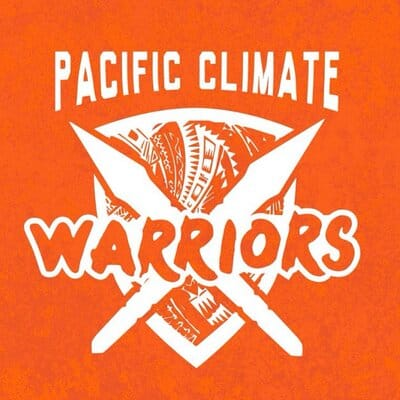 A logo on an orange background with the words Pacific Climate Warriors written in white.