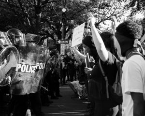 protestors and police confront each other in black lives matter protest in June 2020 in Washington DC