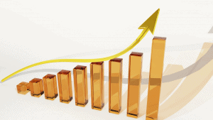 column graph with bars going up and arrow indicating upward growth