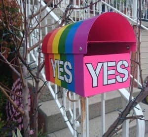 Letterbox with YES written on it and rainbow colours in support of gay marriage rights