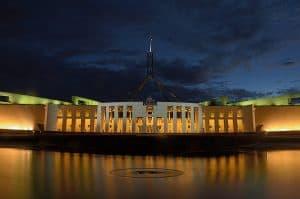Australian Parliament House at night