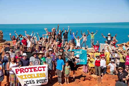 A group of people gathered to protest the proposed development at James Price Point