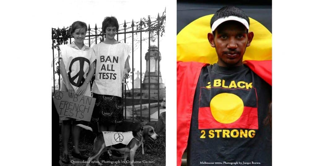 Two photos: one shows two women and a dog all wearing peace tshirts in the 1960s, the other shows a young man at the Stolenwealth Games in 2006 wearing an Aboriginal flag tshirt with the words '2 Black 2 Strong'.