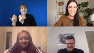 Screenshot of online meeting with four people: Imani Barbarin, Damian Griffis and Kera Sherwood-O'Regan speaking at Virtual Progress 2020 with Auslan translation.