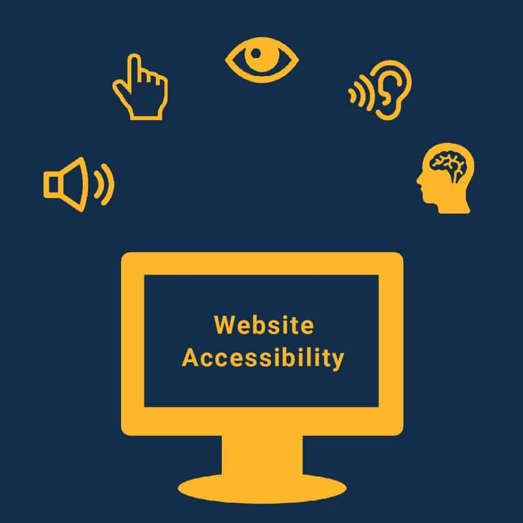 Icons representing website accessibility framed around a computer screen