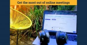 laptop and headphones outside in garden setting